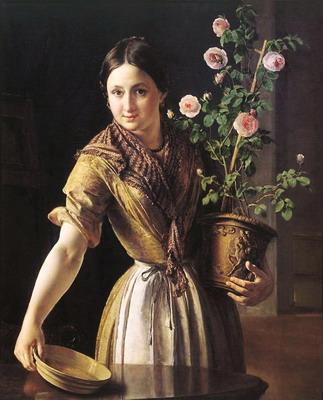 Девушка с горшком роз. худ. В.А. Тропинин. 1850 г.