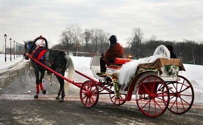 Свадьба зимой, катание на лошади