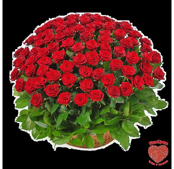 101 роза в корзинке - подарок для мамы